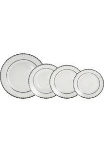 Jogo De Jantar De Porcelana 30 Peças Alto Relevo - Unissex