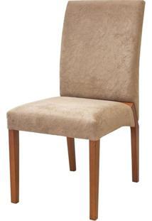 Cadeira Estofada Versa Madeira Maciça 6 Peças Amendoa-Bege