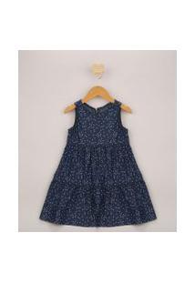 Vestido Jeans Infantil Curto Estampado De Estrelas Alça Larga Azul Escuro