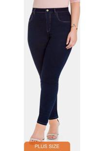 Calca Chapa Barriga Cintura Media Jeans Escuro