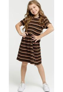 Vestido Infantil Listrado Manga Curta Marisa