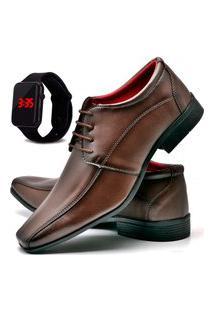 Sapato Social Masculino Asgard Com Relógio Led Db 804Lbm Marrom