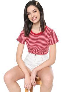 Camiseta Triton Listrada Vermelha/Branca