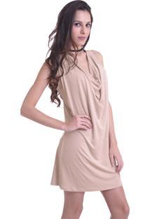Vestido Solto Unyforme Decote Cascata Nude