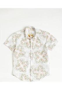 Camisa Mini Sm Onça Mc Infantil Reserva Mini Masculina - Masculino-Branco