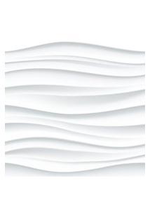 Papel De Parede Branco 3D Ondas Geométrico 57X270Cm