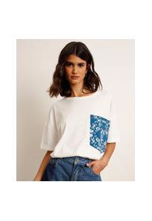 Camiseta Oversized Com Bolso Bordado Paisley Manga Curta Decote Redondo Bff Off White