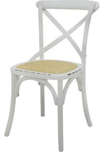 Cadeira Katrina Madeira Assento Em Rattan Cor Branca - 55469 - Sun House