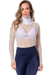 Camiseta Feminina Vazada Manga Longa Conforto Dia A Dia - Branco - Feminino - Dafiti