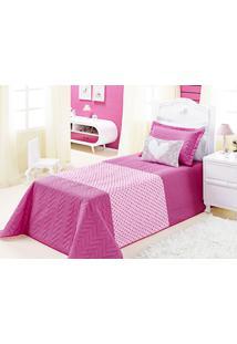 Cobre Leito Carinho Solteiro Rosa Pink Com 3 Peças Poliéster E Polipropileno - Aquarela - Kanui