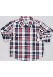 Camisa Infantil Estampada Xadrez Com Bolso Manga Longa Off White