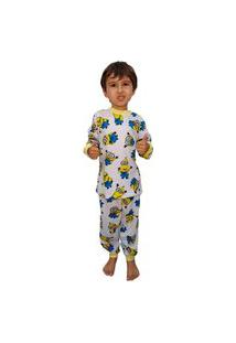Pijama Manga Longa Conjunto Minions 100% Algodão Branco