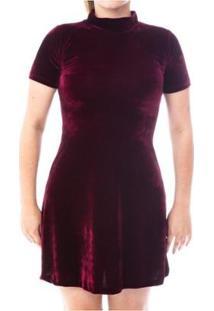 Vestido Moda Vicio Gola Alta Manga Curta Soltinho Feminino - Feminino-Vinho