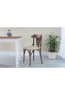 Cadeira Para Sala De Jantar Estofada Augustine - Stain Nogueira - Tec.924 Off White - 45X50,5X83 Cm