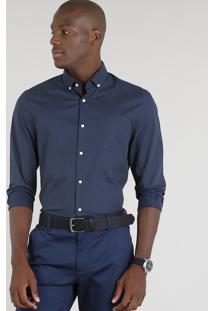 Camisa Masculina Comfort Estampada De Poá Manga Longa Azul Marinho