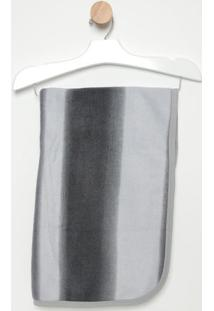 Manta Aveludada Listrada - Cinza & Cinza Escuro- 109Bicho Molhado