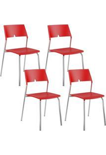 Cadeira 1711 Cromada 04 Unidades Polipropileno Vermelha Carraro