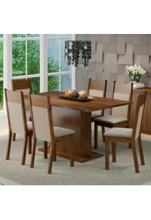 Conjunto Sala De Jantar Lousiana Madesa Mesa Tampo De Madeira Com 6 Cadeiras Marrom