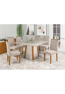 Conjunto De Mesa De Jantar Com Tampo Giratório Júlia E 6 Cadeiras Isabela Animalle Off White E Bege