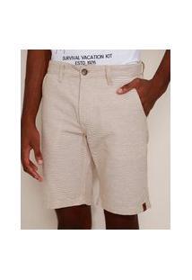 Bermuda Masculina Reta Chino Listrada Off White