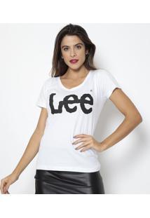 "Camiseta ""Lee®""- Branca & Preta- Leelee"