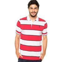 4db1e16915 Camisa Polo Aleatory Listras Vermelha Branca
