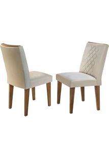 Cadeira Jade Veludo Creme Imbuia