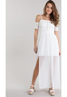 Vestido Longo Open Shoulder Com Lace Up Off White