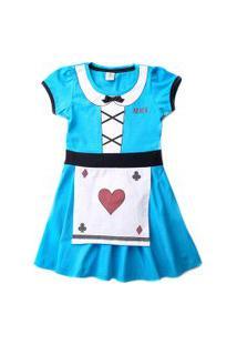 Vestido Infantil - Algodão E Elastano - Alice - Azul - Disney