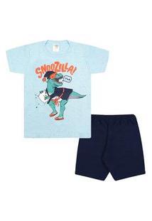 Pijama Infantil Masculino Curto Meia Malha Azul E Azul Marinho Dino Neve (4/6/8) - Jidi Kids - Tamanho 8 - Azul,Azul Marinho