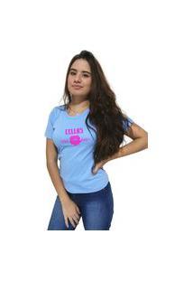Camiseta Feminina Cellos Sigle Rose Premium Azul Claro