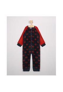 Macacão Pijama Infantil De Fleece Estampado De Homem Aranha Manga Longa Azul