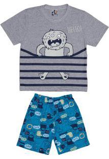 Pijama Curto Infantil Para Menino - Cinza/Azul