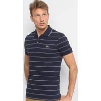 0c5c2dfdeda Camisa Polo Lacoste Listrada Slim Masculina - Masculino-Marinho+Off White