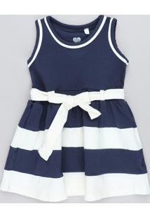 Vestido Infantil Com Recortes E Laço Azul Marinho