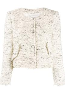 Iro Long Sleeved Fitted Bouclé Jacket - Neutro