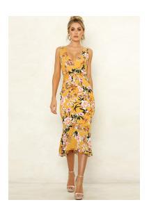 Vestido Tubinho Midi Annecy Florido - Amarelo