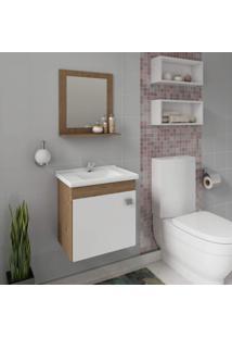 Gabinete Para Banheiro Com Cuba E Espelheira 1 Porta 1 Prateleira Íris Mgm Móveis Amêndoa/Branco