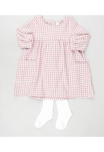 Conjunto Infantil De Vestido Estampado Xadrez Manga Longa + Meia Calça Rosa