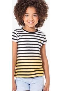Camiseta Infantil Listras Imersao Reserva Mini Feminina - Feminino-Bege
