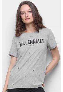 Camiseta Colcci Millennials Ilhós Feminina - Feminino-Mescla