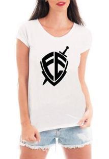 Camiseta Criativa Urbana Escudo Fé Religiosa Feminina - Feminino