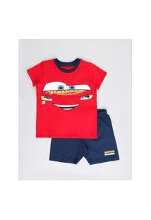 Pijama Infantil Relâmpago Mcqueen Carros Manga Curta Vermelho