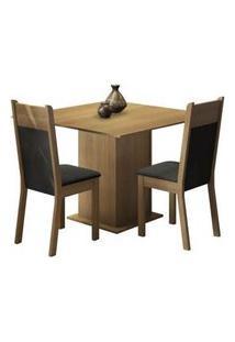 Conjunto Sala De Jantar Madesa Drica Mesa Tampo De Madeira Com 2 Cadeiras Rustic/Preto/Sintético Preto Rustic