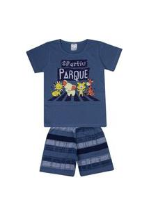 Conjunto Pijama Infantil Menino Em Meia Malha Petróleo - Kontrato