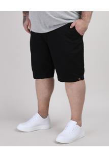 Bermuda De Sarja Masculina Plus Size Reta Com Bolsos Preta