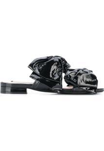Nº21 Bow Embellished Slippers - Preto