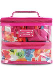 Kit De Nécessaires Aquarela- Pink & Branco- 4Pçsjacki Design