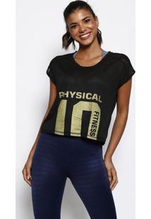 "Blusa Texturizada ""10"" - Preta & Dourada - Physical Physical Fitness"