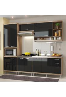 Cozinha Compacta Sicília 11 Portas Com Balcão Sem Pia Preto/Argila - Multimóveis